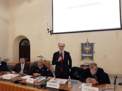 Il vicegovernatore Riccardo Riccardi assieme al capo dipartimento nazionale della Protezione civile, Angelo Borrelli, e il presidente del Consiglio regionale, Piero Mauro Zanin