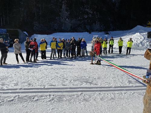 Un momento della cerimonia d'inaugurazione del Centro sci fondo 'Piero Di Lenardo' Val Saisera-Valbruna.