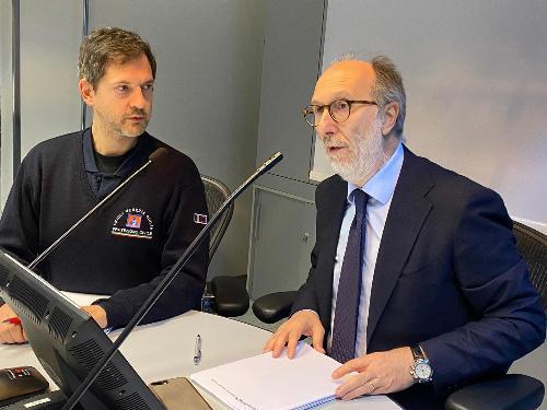 Il vicegovernatore Riccardo Riccardi e il direttore della Protezione civile Fvg Amedeo Aristei
