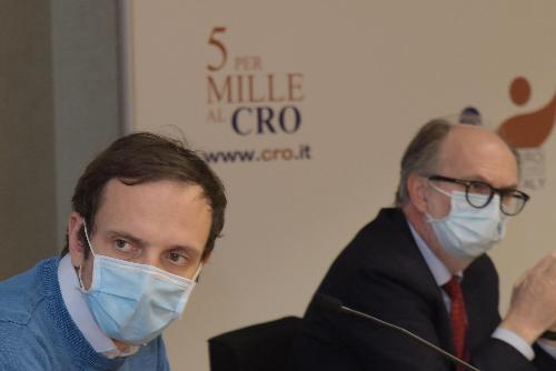 il governatore Massimiliano Fedriga e il vicegovernatore con delega alla Salute Riccardo Riccardi al Cro di Aviano