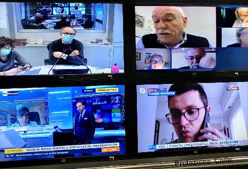 Il vicegovernatore del Friuli Venezia Giulia con delega alla Salute e alla Protezione civile, Riccardo Riccardi durante la videoconferenza con i rappresentanti sindacali dei pensionati