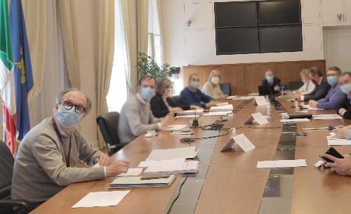 Il vicegovernatore del Friuli Venezia Giulia con delega alla Salute e alla Protezione civile, Riccardo Riccardi, durante la seduta di Giunta regionale