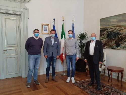 Il governatore del Fvg Massimiliano Fedriga e l'assessore ai Corregionali Pierpaolo Roberti incontrano il presidente del Fogolar Furlan di Hong Kong Michele Cicigoi con il presidente di Ente Friuli nel Mondo Loris Basso a Trieste.