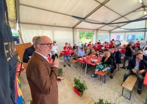 Il vicegovernatore del Friuli Venezia Giulia con delega alla Salute e alla Protezione civile, Riccardo Riccardi durante il suo intervento all'evento organizzato dal Panathlon Club Udine Centro