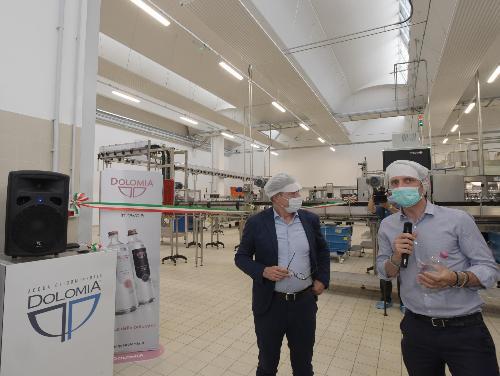 Il governatore Massimiliano Fedriga interviene in occasione  dell'apertura di una nuova linea produttiva dello stabilimento Dolomia