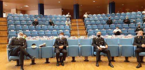 Alcuni dei comandanti di Polizia locale che oggi hanno ricevuto l'encomio della Regione Friuli Venezia Giulia per l'attività di monitoraggio svolta durante l'emeregnza sanitaria - Udine, 6 agosto 2020