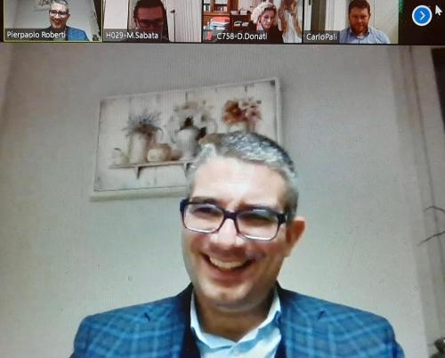 L'intervento in videconferenza dell'assessore regionale alle Autonomie locali Pierpaolo Roberti in occasione dle varo della Comunità del Friuli orientale