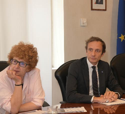 Una foto d'archivio che ritrae il governatore del Friuli Venezia Giulia, Massimiliano Fedriga, insieme all'assessore a Cultura e Sport, Tiziana Gibelli