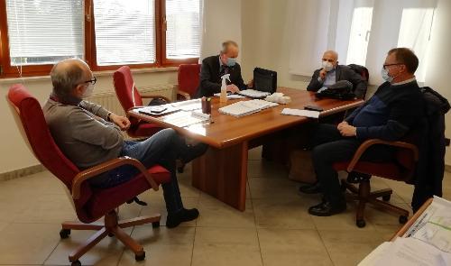 Il vicegovernatore con delega alla Salute Riccardo Riccardi con i segretari regionali di Cgil, Cisl e Uil
