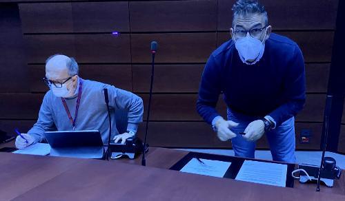 Il vicegovernatore del Friuli Venezia Giulia con delega alla Salute, Riccardo Riccardi, durante la firma dell'accordo stralcio per l'utilizzo delle Risorse aggiuntive regionali (Rar) 2021 con i rappresentanti delle principali organizzazioni sindacali del comparto della sanità.