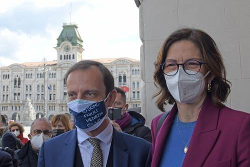 Il governatore Fedriga con il ministro per gli Affari regionali e le autonomie, Mariastella Gelmini