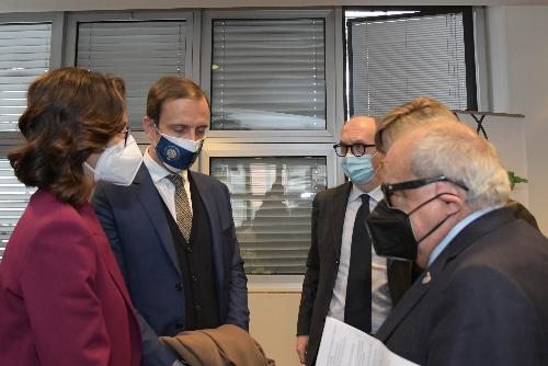 Il governatore del FVG Fedriga, il ministro Gelmini e il vicegovernatore FVG con delega alla salute Riccardi in un momento dell'incontro