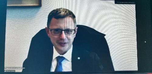L'assessore regionale alle Risorse agroalimentari, Stefano Zannier, in videocollegamento all'anteprima di NovelFarm.