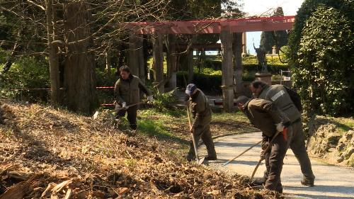 Operai forestali regionali al lavoro nel parco di Miramare a Trieste