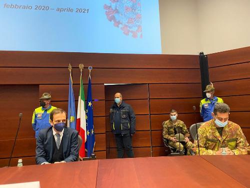 Il governatore Massimiliano Fedriga con il commissario Francesco Paolo Figliuolo