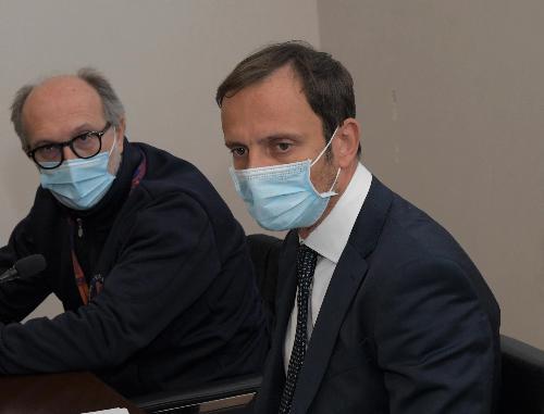 Il governatore del Friuli Venezia Giulia Massimiliano Fedriga e il vicegovernatore con delega alla Salute Riccardo Riccardi