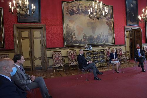 Il governatore Massimiliano Fedriga all'evento realizzato nel Castello di Miramare