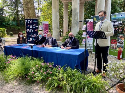 Una fase della conferenza stampa di presentazione delle tappe del Giro d'Italia in Friuli Venezia Giulia svoltasi a Gorizia