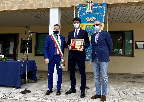 Da destra: il vicegovernatore della Regione Riccardo Riccardi, il professor Maurizio Ceccon e il sindaco di Gonars Ivan Diego Boemo