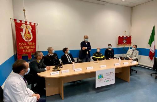 Il vicegovernatore del Friuli Venezia Giulia, Riccardo Riccardi, alla celebrazione della Giornata mondiale del donatore di sangue svoltasi all'Ospedale di Pordenone, alla presenza dei vertici dell'Azienda sanitaria Friuli Occidentale, dei rappresentanti della prefettura e delle Forze dell'ordine e di soccorso, oltre che delle associazioni dei donatori di sangue.