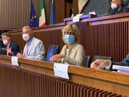 L'assessore alle Finanze Barbara Zilli durante la seduta della I Commissione